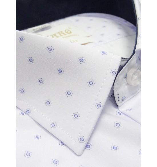 Koszula slim biała w granatowy wzorek