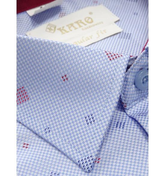 Koszula męska wizytowa błękitna z kwadratami