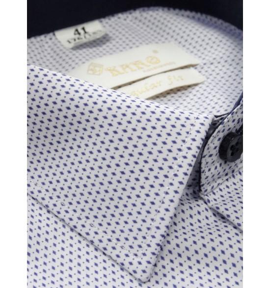Koszula męska wizytowa biała granatowe romby