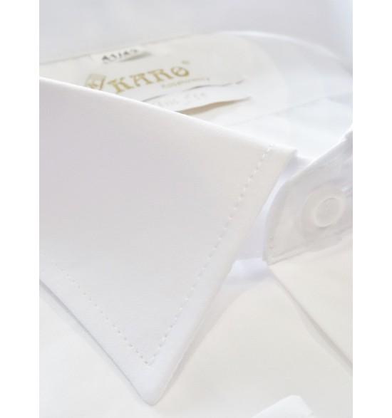 Koszula slim na spinki biała 100%